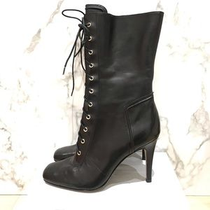 Boutique 9 Leather lace up boots w gold hardware